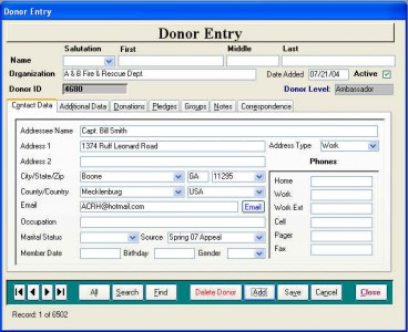 Contact Data Entry