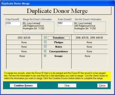 Duplicate Donor Merge Screen