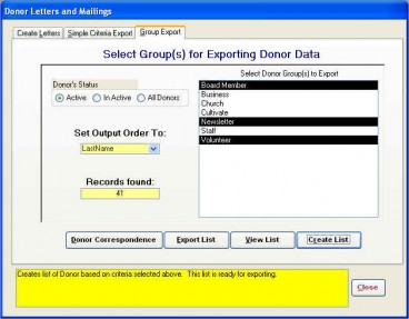 Group Export Tab